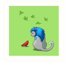 Derpkitty & bird Art Print