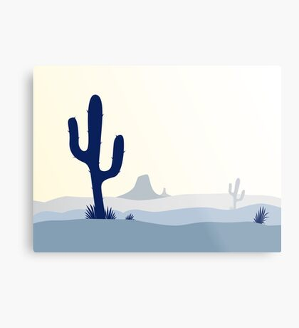 Cactus desert sunset. Scene with desert cactus plant, weeds and mountains Metal Print