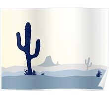 Cactus desert sunset. Scene with desert cactus plant, weeds and mountains Poster