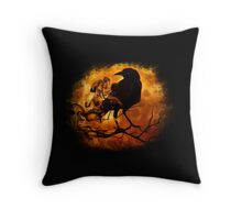 Raven Crow Darkness Mystical Gloomy Halloween Throw Pillow