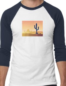 Cactus desert sunset. Scene with desert cactus plant and weeds. Sunset in desert Men's Baseball ¾ T-Shirt