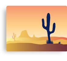 Cactus desert sunset. Scene with desert cactus plant and weeds. Sunset in desert Canvas Print
