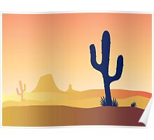 Cactus desert sunset. Scene with desert cactus plant and weeds. Sunset in desert Poster