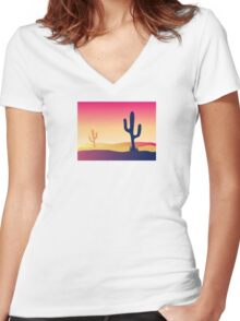 Cactus desert sunset. Scene with desert cactus plant and weeds Women's Fitted V-Neck T-Shirt