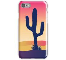 Cactus desert sunset. Scene with desert cactus plant and weeds iPhone Case/Skin