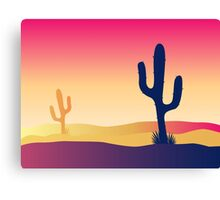 Cactus desert sunset. Scene with desert cactus plant and weeds Canvas Print