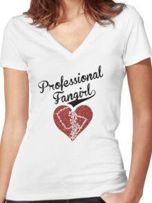 Professional Fangirl, Broken Heart Women's Fitted V-Neck T-Shirt