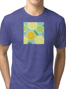 Citrus fruit background vector - Lemon, Lime and Orange Tri-blend T-Shirt