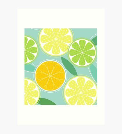 Citrus fruit background vector - Lemon, Lime and Orange Art Print