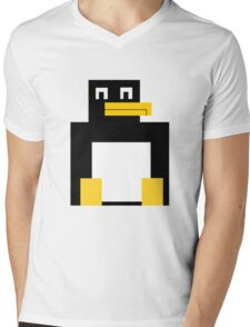 Cubed Penguin Mens V-Neck T-Shirt