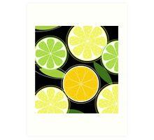 Citrus fruit on black background - Black designers Edition Art Print