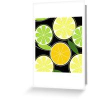 Citrus fruit on black background - Black designers Edition Greeting Card