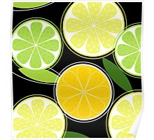 Citrus fruit on black background - Black designers Edition Poster
