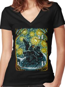 Starry Forest Women's Fitted V-Neck T-Shirt