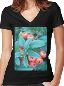 Cotoneaster 2 Women's Fitted V-Neck T-Shirt