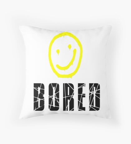 Bored, Smiley Face, Sherlock Throw Pillow