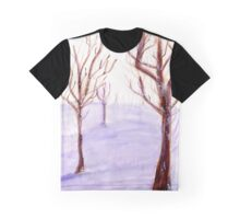 Watercolor Snowy Trees Graphic T-Shirt