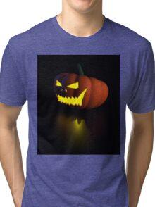 3d halloween pumpkin lamp Tri-blend T-Shirt