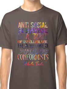 Watercolor-Anti Social Behavior, Nikola Tesla Quote Classic T-Shirt