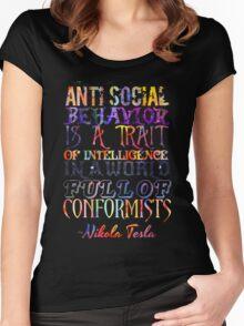 Watercolor-Anti Social Behavior, Nikola Tesla Quote Women's Fitted Scoop T-Shirt