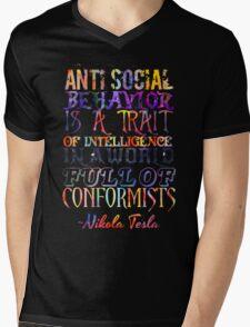Watercolor-Anti Social Behavior, Nikola Tesla Quote Mens V-Neck T-Shirt