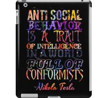 Watercolor-Anti Social Behavior, Nikola Tesla Quote iPad Case/Skin