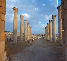 Columns in Jerash by PhotoBilbo