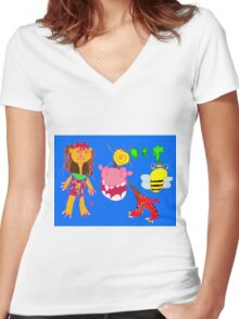 When Lion Lady Meets Mythical Lion Women's Fitted V-Neck T-Shirt