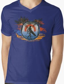 Surfing - Summer Sun and Palm Trees and Paint Brushes Mens V-Neck T-Shirt