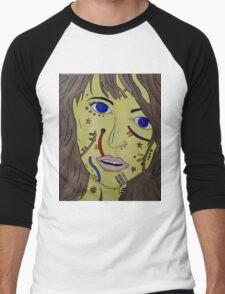 Patterned Face Men's Baseball ¾ T-Shirt