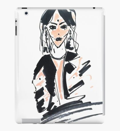 Fashion woman in sketch style with markers iPad Case/Skin