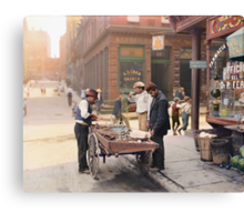 Clam seller on Mulberry Bend, New York, ca 1900 Canvas Print