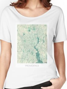 Providence Map Blue Vintage Women's Relaxed Fit T-Shirt