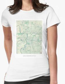 Sacramento Map Blue Vintage Womens Fitted T-Shirt