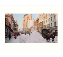 Piles of snow on Broadway, after storm, New York, ca 1905 Colorized Art Print