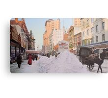 Piles of snow on Broadway, after storm, New York, ca 1905 Colorized Metal Print