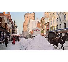 Piles of snow on Broadway, after storm, New York, ca 1905 Colorized Photographic Print