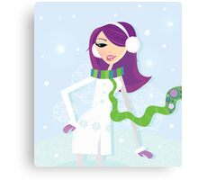 Romantic winter girl on snow. Snow lady in fashion trendy costume Canvas Print