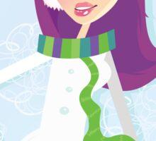 Romantic winter girl on snow. Snow lady in fashion trendy costume Sticker