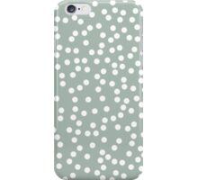 Cute Light Gray Green and White Polka Dots iPhone Case/Skin