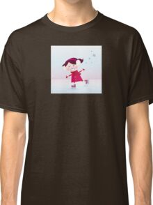 Ice skating girl. Small girl with big smile on ice Classic T-Shirt