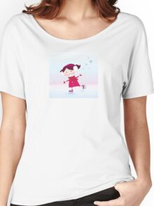 Ice skating girl. Small girl with big smile on ice Women's Relaxed Fit T-Shirt