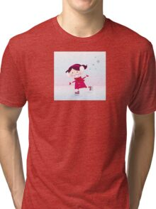 Ice skating girl. Small girl with big smile on ice Tri-blend T-Shirt