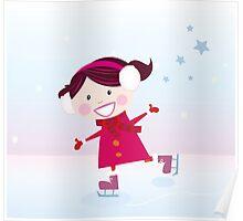 Ice skating girl. Small girl with big smile on ice Poster