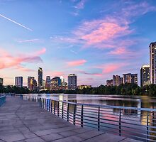 Austin Skyline at sunset from the Boardwalk by Tod and Cynthia Grubbs