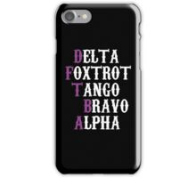 Delta Foxtrot Tango Bravo Alpha - Purple iPhone Case/Skin