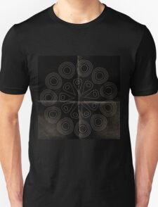 Rustic,dark,abstract art,on black worn parchments,paper,contemporary art Unisex T-Shirt