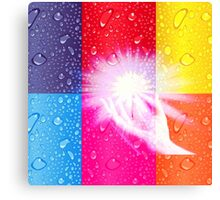 magical hands,energy,healer,abstract composition,contemporary art,water droplets,hand,multi color squares, Canvas Print