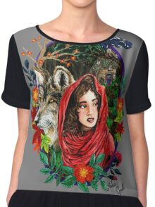 Little Red Watercolor Painting Chiffon Top