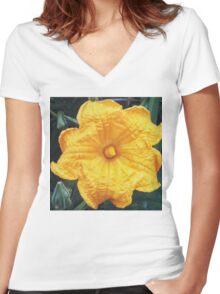 Squash Blossom 1 Women's Fitted V-Neck T-Shirt